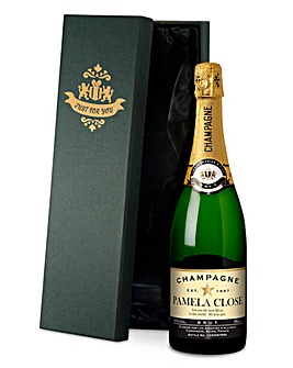 Personalised Champagne In Black Gift Box