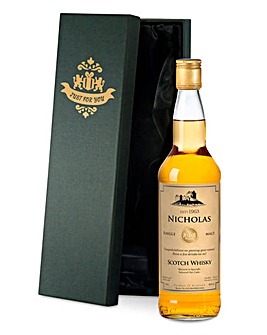 Personalised Malt Whiskey Black Gift Box