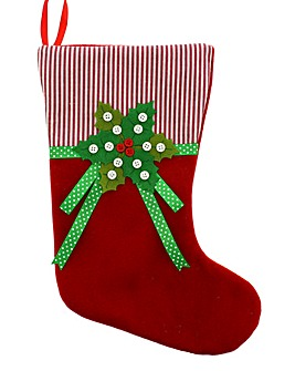 Red Felt Stocking with Holly Design