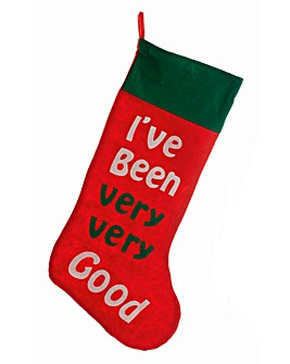 Red Stocking with White Text