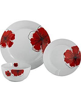 Poppies 12 Piece Porcelain Dinner Set