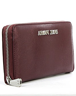 Armani Jeans Burgundy Zip Around Wallet