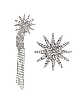 Mood Silver crystal star brooches
