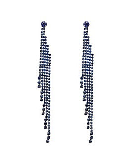 Mood Blue diamante drop earring