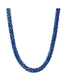 Mood Metallic blue beaded necklace