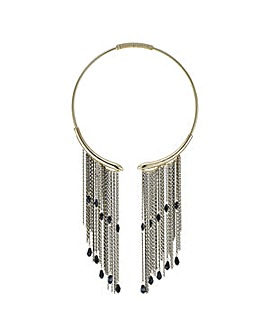 Mood Jet beaded chain collar necklace