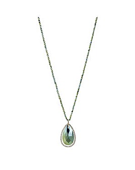 Mood Metallic green teardrop necklace