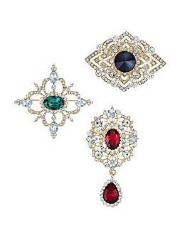 Mood Ornate crystal brooch pack