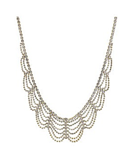 Mood Gold diamante loop bib necklace