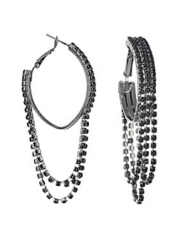 Mood Black chain drop hoop earring