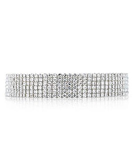 Mood Silver diamante row choker necklace