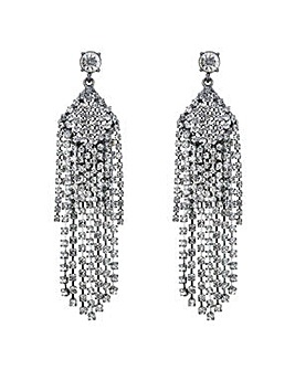 Mood Silver diamante droplet earring