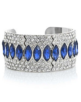 Mood Blue crystal ornate cuff bracelet
