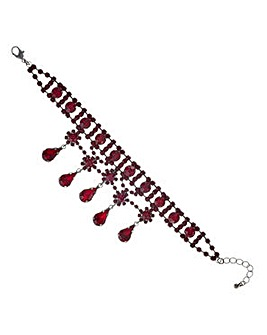 Mood Red diamante droplet bracelet