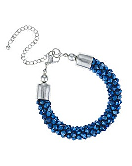 Mood Metallic blue beaded bracelet