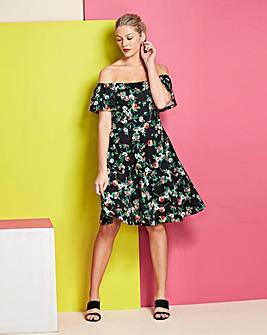 Black Print Bardot Prom Dress