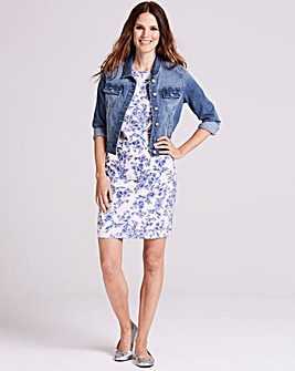 Ivory/Blue Floral Ruffle Dress