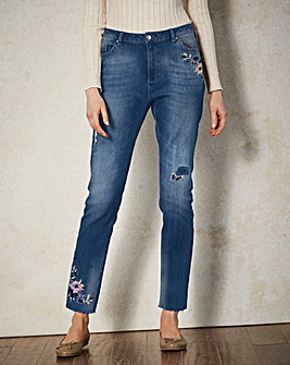 Floral Embroidered Straight Leg Jeans Re