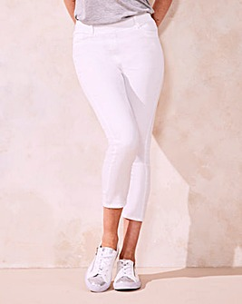 White Amber Pull-On Crop Jeggings