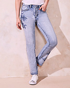 Hollie Embroidered Slim Leg Jeans Reg