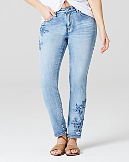 Embroidered Slim Leg Jeans Reg