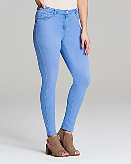 Light BluSophia Fly Front Jeggings Short