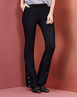 Button Detail Split Hem Bootcut Jeans