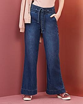 Belted High Waist Wide Leg Jeans