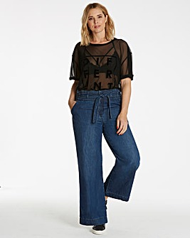 Belted High Waist Wide Leg Jeans
