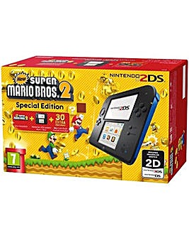 2DS Black and Blue Inc New Super Mario 2