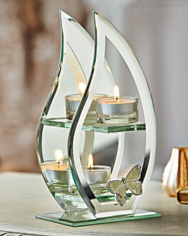 Glass Butterfly Double Tea Light Holder