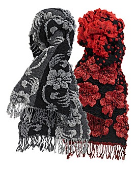 Black & Red Scrunchy Scarf Set