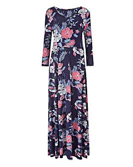 Navy Floral Jersey Maxi Dress - L 52