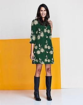 Green Dandilion Print Tunic Shift Dress