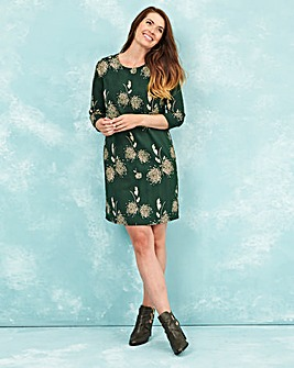 Green Dandilion Print Tunic Shift Dress