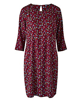 Ditsy Floral Print Tunic Shift Dress