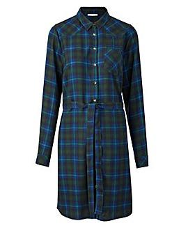 Blue Checked Shirt Dress
