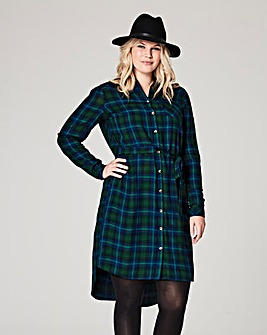 Blue Checked Shirt Dress