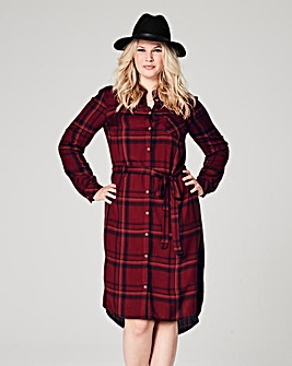 Berry/Black Checked Shirt Dress