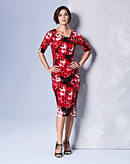 Red Print Side Tuck Dress