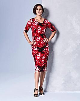 Red Print Side Tuck Dress