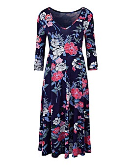 Navy Floral Jersey Midi Dress - 45in