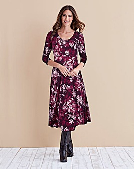 Damson Print Jersey Midi Dress - 45 in
