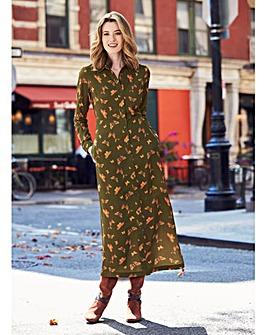 Button Down Sleeve Midi Shirt Dress