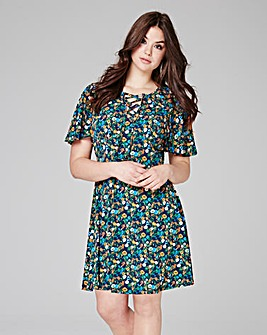 Blue Floral Print Tea Dress