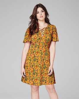 Yellow Floral Print Tea Dress