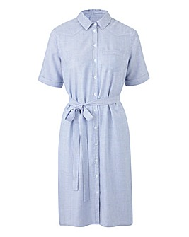 Ivory/Blue Short Sleeve Shirt Dress