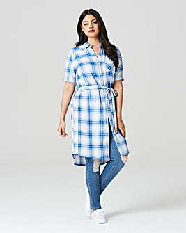 Check Short Sleeve Shirt Dress