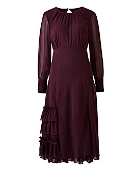 Frill Detail Dipped Hem Dress