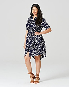 Navy Print Short Sleeve Shirt Dress